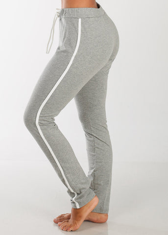 Image of High Rise Stripe Sides Grey Pants