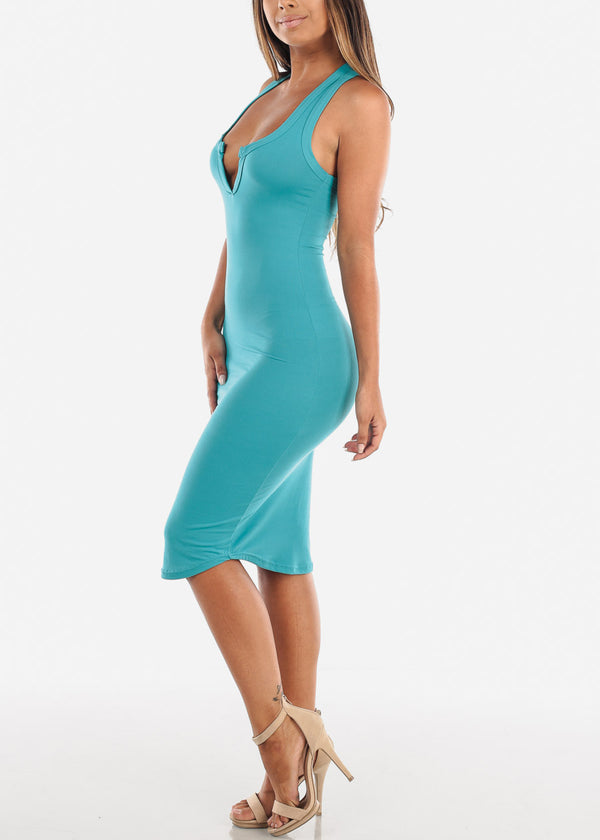 Stylish Teal Bodycon Midi Dress