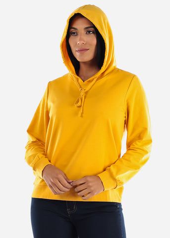 Image of Mustard Long Sleeve Hooded Sweatshirt