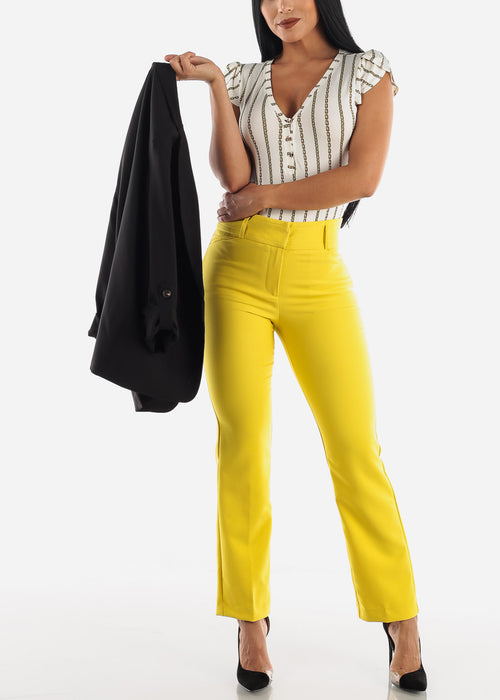 Yellow High Waist Dressy Pants