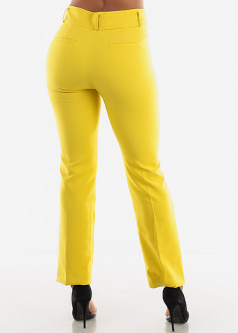 Image of Yellow High Waist Dressy Pants