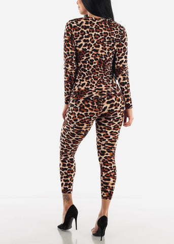 Image of Brown Leopard Top & Leggings ( 2 PCE SET )