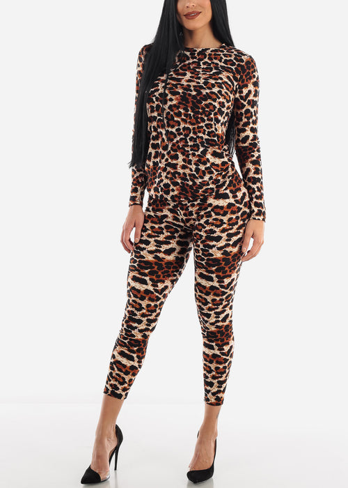 Brown Leopard Top & Leggings ( 2 PCE SET )