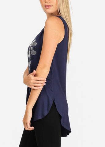 Image of Rhinestone Navy Tunic Top