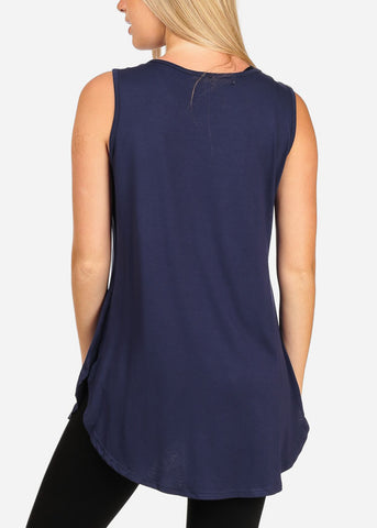 Rhinestone Navy Tunic Top