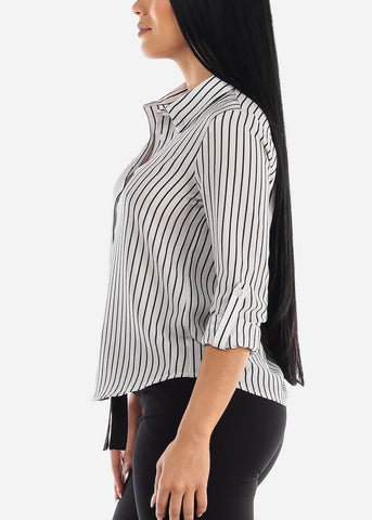Image of Button Down White Stripe Shirt
