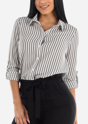 Button Down White Stripe Shirt