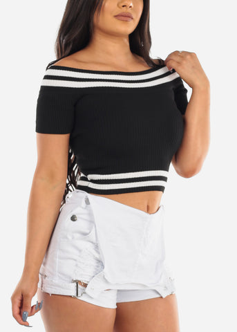 Sexy Off Shoulder Stripe Ribbed Black Crop Top For Women Ladies Junior