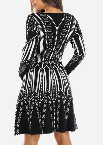 Image of Black & White A-Line Sweater Dress