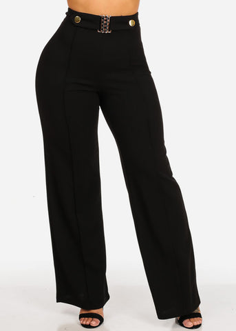 Image of High Waisted Wide Legged Black Pants