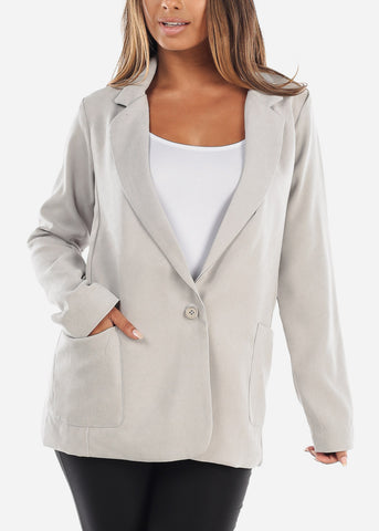 Trendy Light Grey Oversized Blazer