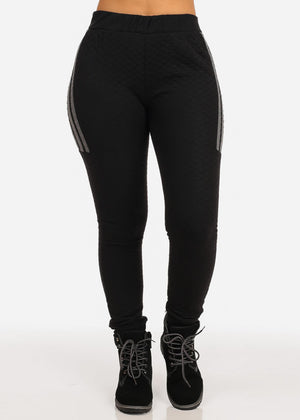 High Rise Stripe Detail Black Jogger Pants