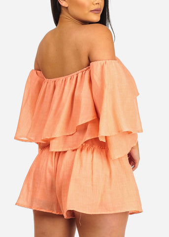 Image of Women's Junior Summer Beach Vacation Cute Sexy Lightweight Off Shoulder Crop Top And Drawstring Waist Line Orange Shorts