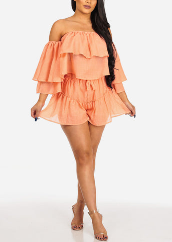 Image of Orange Off Shoulder Crop Top & Shorts (2 PCE SET)