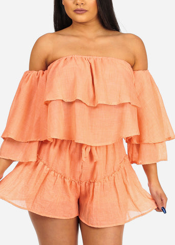 Women's Junior Summer Beach Vacation Cute Sexy Lightweight Off Shoulder Crop Top And Drawstring Waist Line Orange Shorts