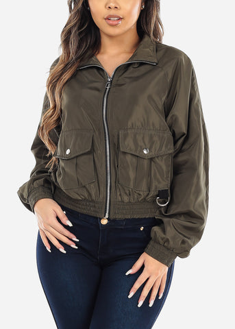 Image of Zip Up Olive Utility Jacket