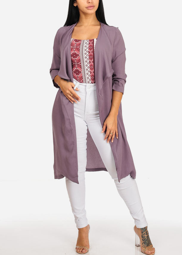 Stylish Open Front Oversized Lavender Blazer