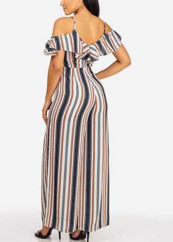 Casual Multi Color Stripe Jumpsuit