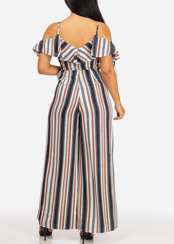 Image of Casual Multi Color Stripe Jumpsuit