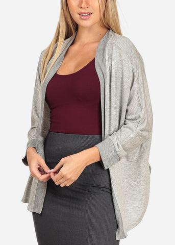 Women's Junior Stylish Casual Going Out Must Have Grey Open Front Long Sleeve Stretchy Cardigan