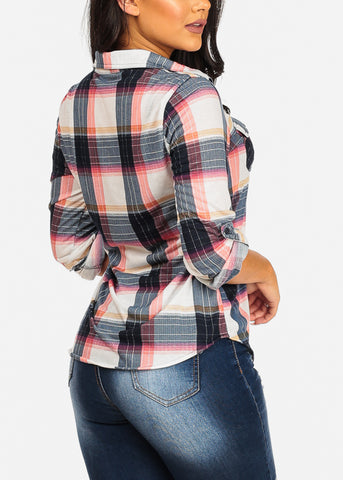 Trendy Cute Pink Plaid Print Top