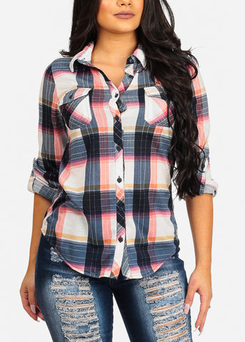 Image of Trendy Cute Pink Plaid Print Top