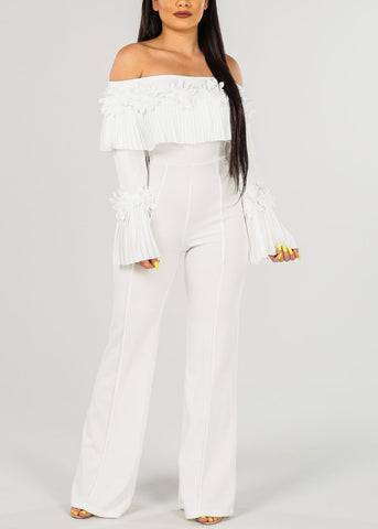 Image of Sexy White Floral Detail  Jumpsuit