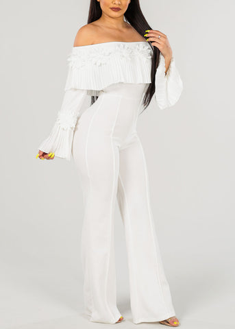 Sexy White Floral Detail  Jumpsuit