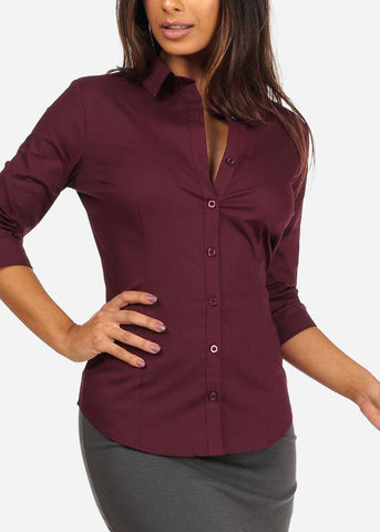 Image of Office Business Wear Button Up 3/4 Sleeve Burgundy Shirt Top