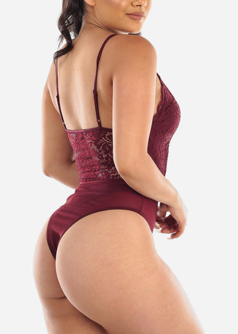 Sexy Burgundy Floral Lace Bodysuit
