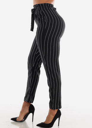 Black Paperbag Stripe Pants