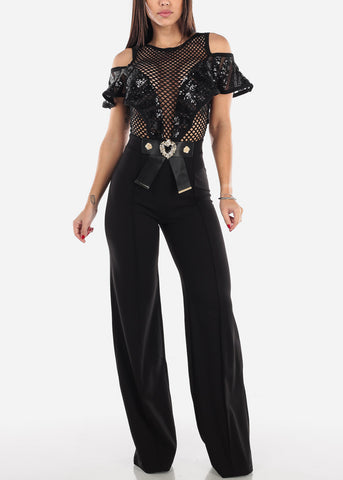 Image of Cold Shoulder Sequin Detail Jumpsuit