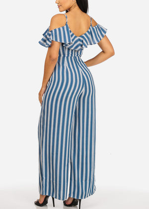 Casual Blue Stripe Jumpsuit