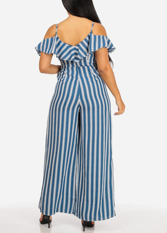 Image of Casual Blue Stripe Jumpsuit