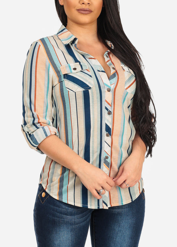Women's Junior Stylish Button Up Roll Up Sleeve Rodeo Style Multicolor Stripe Print Latte Blouse Top Shirt