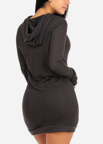 Charcoal Sweater Midi Dress