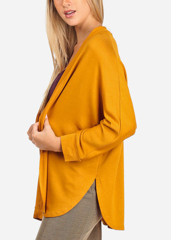 Women's Junior Stylish Casual Going Out Must Have Mustard Open Front Long Sleeve Stretchy Cardigan
