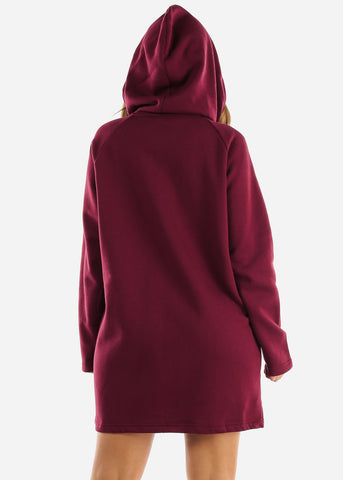 Fleece Zip Up Burgundy Hoodie Dress