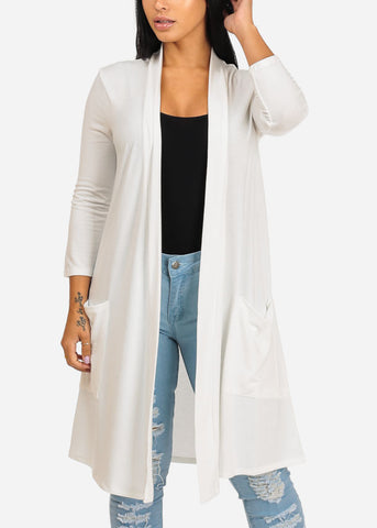 Cozy Ivory Open Front Maxi Cardigan