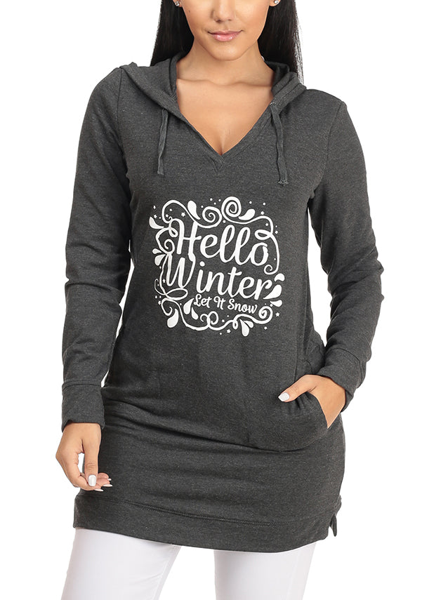 Hello Winter Graphic Print Long Sleeve V Neckline Charcoal Tunic Sweater Top W Pockets