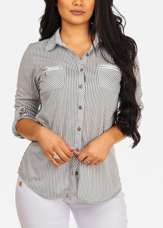 Stylish Button Up 3/4 Sleeve Zipper Insets Stripe Top