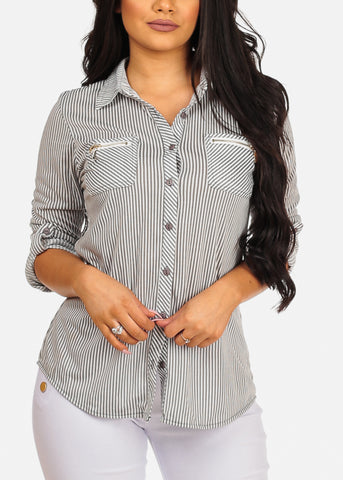 Image of Stylish Button Up 3/4 Sleeve Zipper Insets Stripe Top