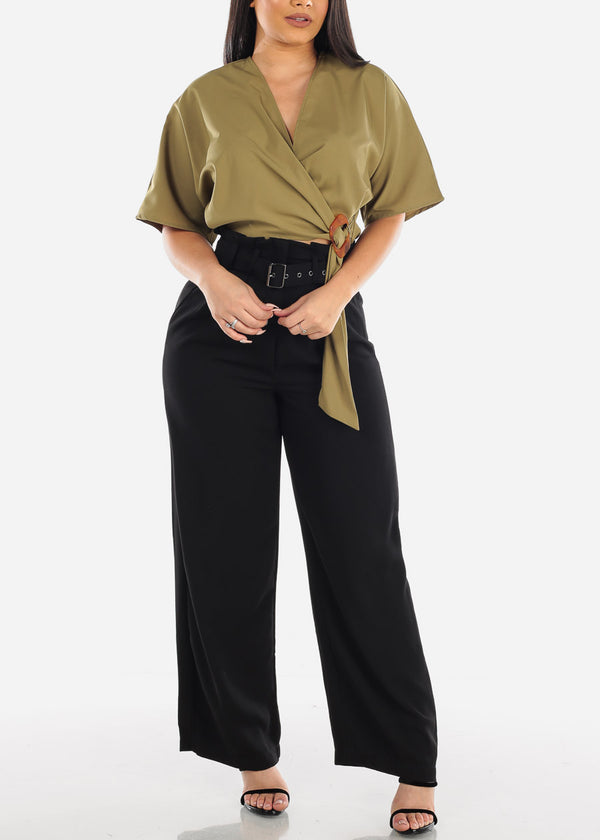 Belted Lightweight High Rise Black Pants
