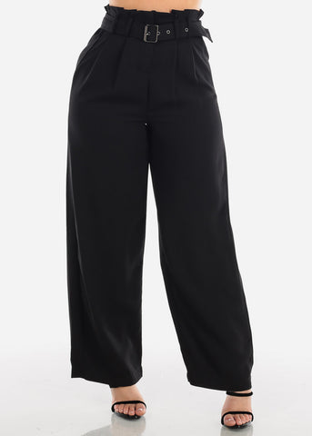 High Waisted Lightweight Loose Fit Cute Stylish Solid Black Pants