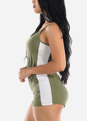 Image of Sleeveless Olive & White Romper