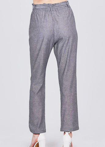 Image of Stripe Grey Paperbag Belted Pants