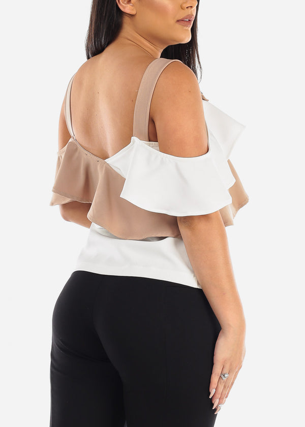 Two Tone Cold Shoulder Ruffled Top