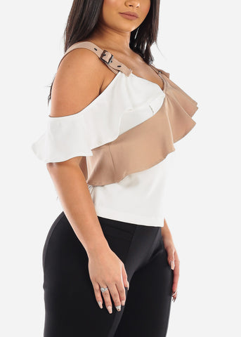 Image of Sexy Cold Shoulder Two Tone Khaki & White Ruffled Top For Women Junior