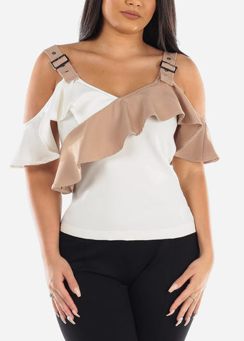 Sexy Cold Shoulder Two Tone Khaki & White Ruffled Top For Women Junior