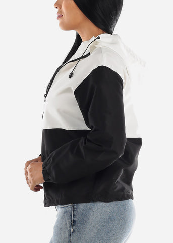 Image of White Colorblock Windbreaker Jacket